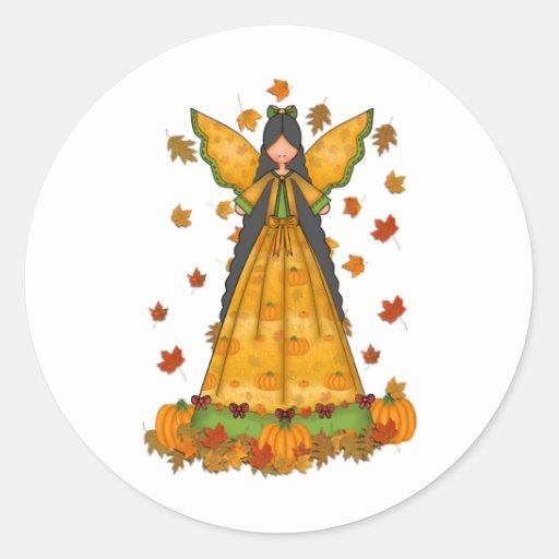 harvest angel round stickers