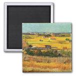 Harvest at La Crau - van Gogh 2 Inch Square Magnet