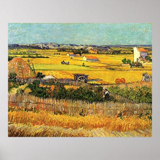 Harvest at La Crau (van Gogh) Poster