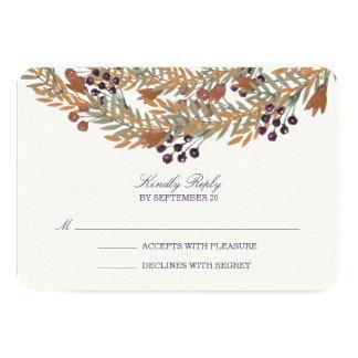 Harvest Berry Wreath Wedding RSVP Response Card