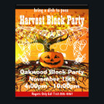 """Harvest Block Party Event or Fall Event Flyer<br><div class=""""desc"""">Brown &amp; Creme  Monogram Stationery  - You Choose Paper Color from endless colors just enter your rgb hex code for your custom color.</div>"""