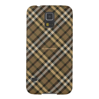 Harvest Brown Yellow Plaid Pattern Galaxy S5 Cover