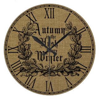 Harvest Burlap Prints Large Clock