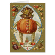 Harvest Doll Pumpkin Apple Pear Corn Grape Greeting Card