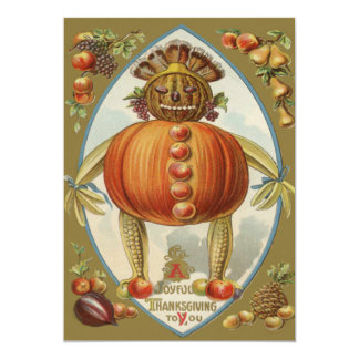 Harvest Doll Pumpkin Apple Pear Corn Grape Card