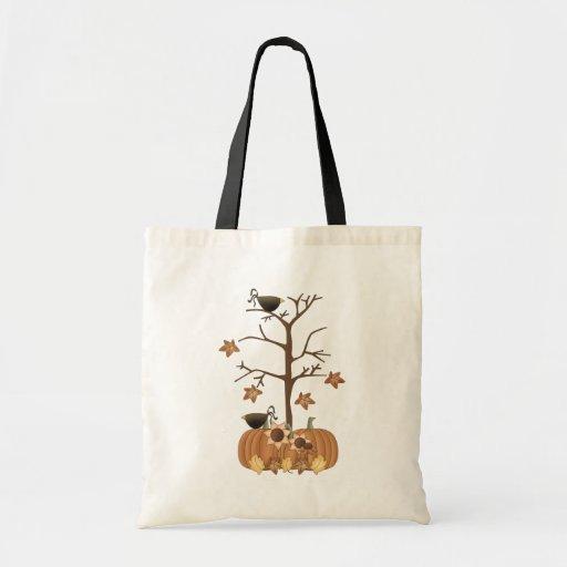 Harvest Fall Autumn Pumpkin Crow Leaves Bags