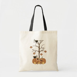 Harvest Fall Autumn Pumpkin Crow Leaves Tote Bag
