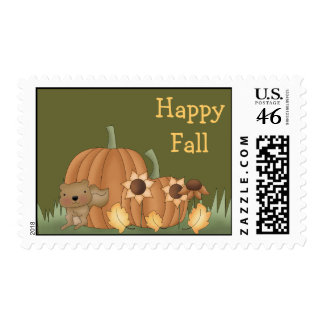 Harvest Fall Autumn Pumpkin Leaves Squirrel Stamp