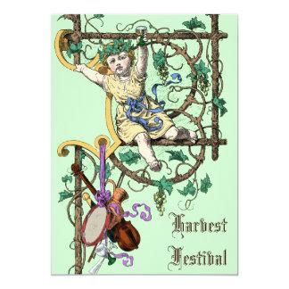 Harvest Festival Autumn Wine Fair Vintage Style Card