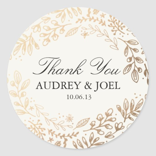 Harvest flowers wedding classic round sticker