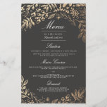 """Harvest Flowers Wedding Dinner Menu<br><div class=""""desc"""">Elegant gold floral by Shelby Allison. For matching invitations,  reply cards,  stickers and other items click on the link below to view the entire Harvest Flowers.</div>"""