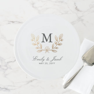 Harvest Flowers Wedding Monogram Cake Stand