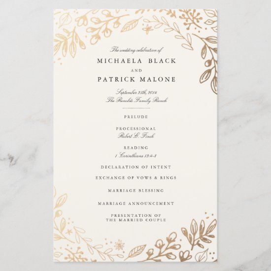 Harvest Flowers Wedding Program