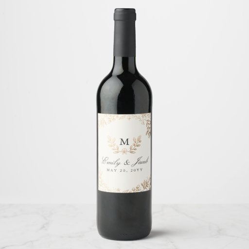 Harvest Flowers Wedding Wine Label