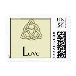 Harvest Gold Celtic Knot Love Postage Stamp