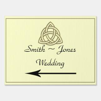 Harvest Gold Celtic Knot Wedding Direction Sign