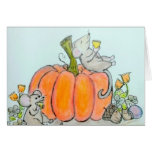 Harvest happy Thanksgiving or autumn card Mice