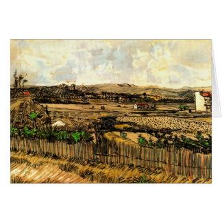 Harvest in Provence, Left Montmajour by van Gogh Card