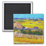 Harvest Landscape with Blue Cart Vincent Van Gogh 2 Inch Square Magnet