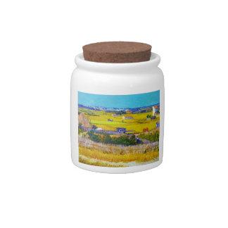 Harvest Landscape with Blue Cart Vincent Van Gogh Candy Dishes