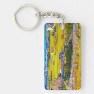 Harvest Landscape with Blue Cart Vincent Van Gogh Keychain