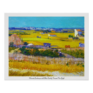 Harvest Landscape with Blue Cart Vincent Van Gogh Poster
