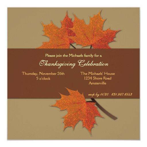 """Harvest Leaves Invitation 5.25"""" Square Invitation Card"""