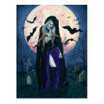 Harvest Moon Halloween Witch Postcard