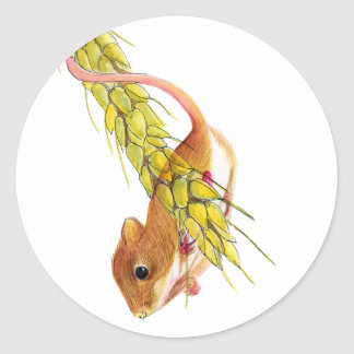 Harvest Mouse on Ear of Wheat Watercolour Painting Classic Round Sticker