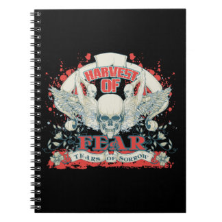 Harvest of Fears Tears of Sorrow Skull and Wings Notebook