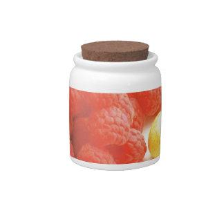 Harvest of summer fruits candy jars