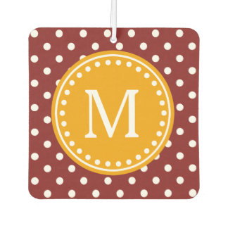Harvest Pumpkin on Russet Red and White Polka Dot