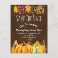 Harvest Pumpkins and Autumn Foliage Border STD Announcement Postcard