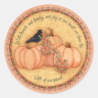 Harvest Round about Round Stickers