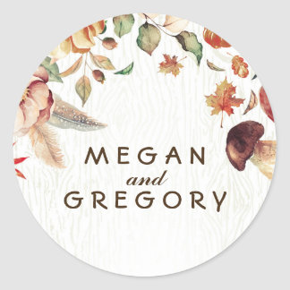 Harvest Rustic Fall Wedding Classic Round Sticker