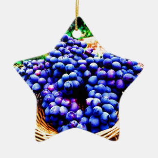 Harvest season seedless grapes fruit ceramic ornament