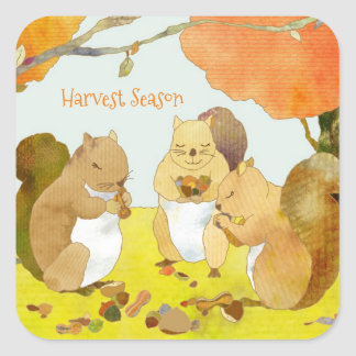 Harvest Season Squirrels Square Sticker