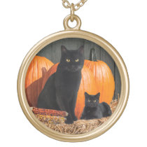 """Harvest Time Cats"" Necklace"