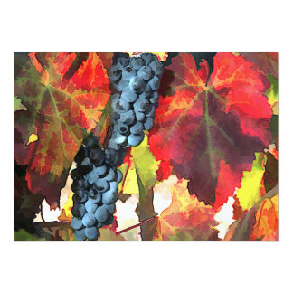 """Harvest Time Grapes and Leaves 5"""" X 7"""" Invitation Card"""