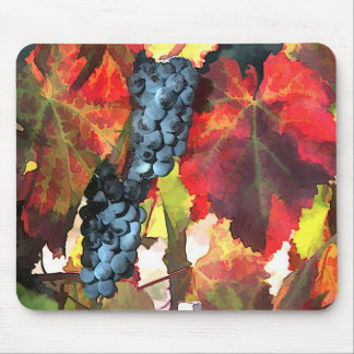 Harvest Time Grapes and Leaves Mouse Pad