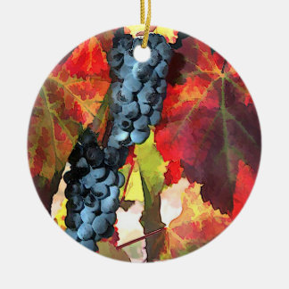 Harvest Time Grapes and Leaves Ornaments