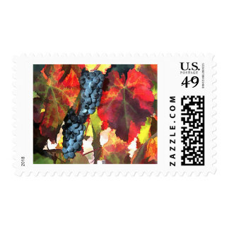 Harvest Time Grapes and Leaves Stamp
