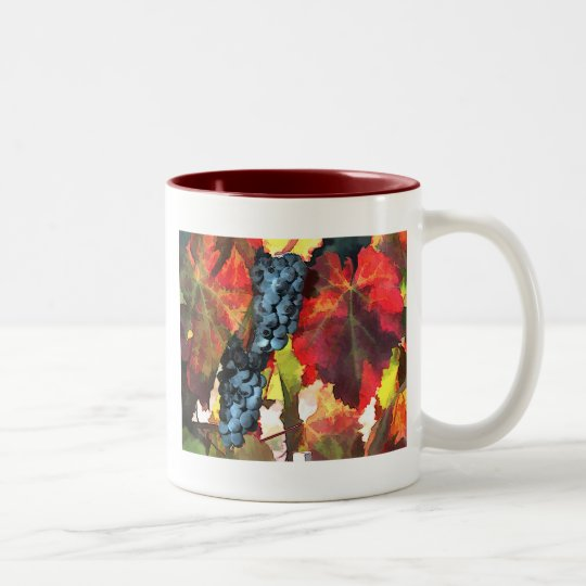 Harvest Time Grapes and Leaves Two-Tone Coffee Mug