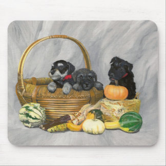 """""""Harvest Time!"""" schnauzer puppies mouse pad. Mouse Pad"""