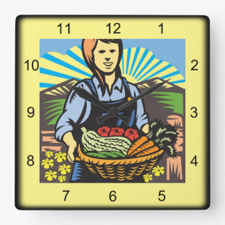 Harvest Time Square Wall Clock