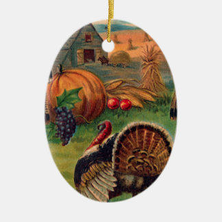 Harvest, Tom and Farm Vintage Thanksgiving Ceramic Ornament