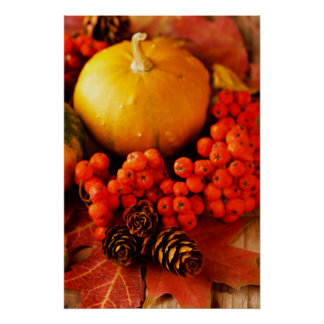 Harvested pumpkins with fall leaves 2 poster