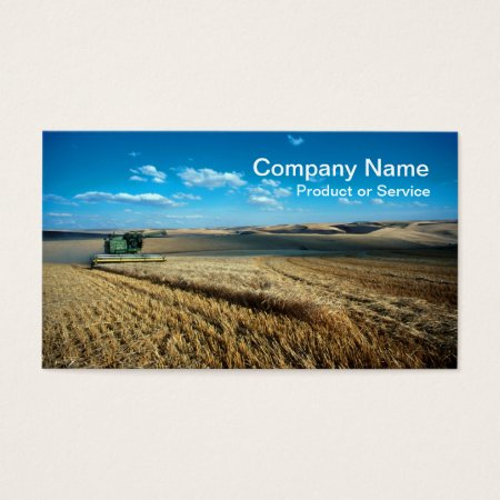 Green Combine Harvester Harvesting a Palouse Barley Field Business Cards