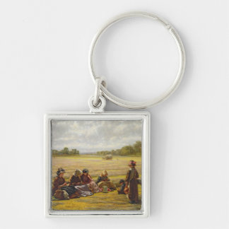 Harvesters resting in the Sun, Berkshire, 1865 Keychain