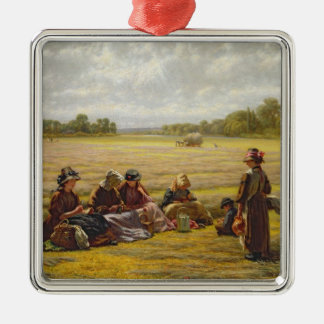 Harvesters resting in the Sun, Berkshire, 1865 Metal Ornament